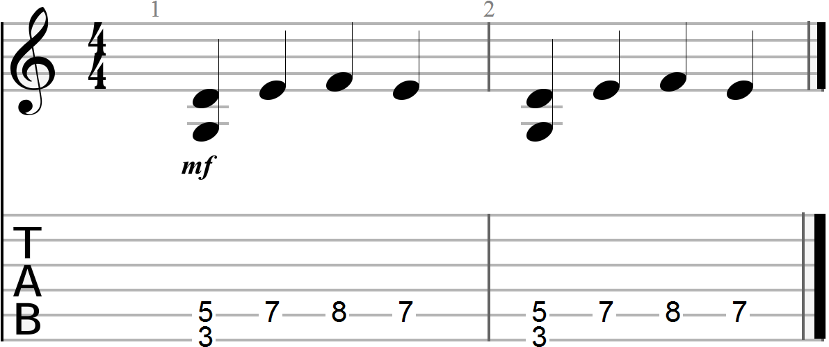 G, C and D 12 Bar Blues Chord Progression (melody line)