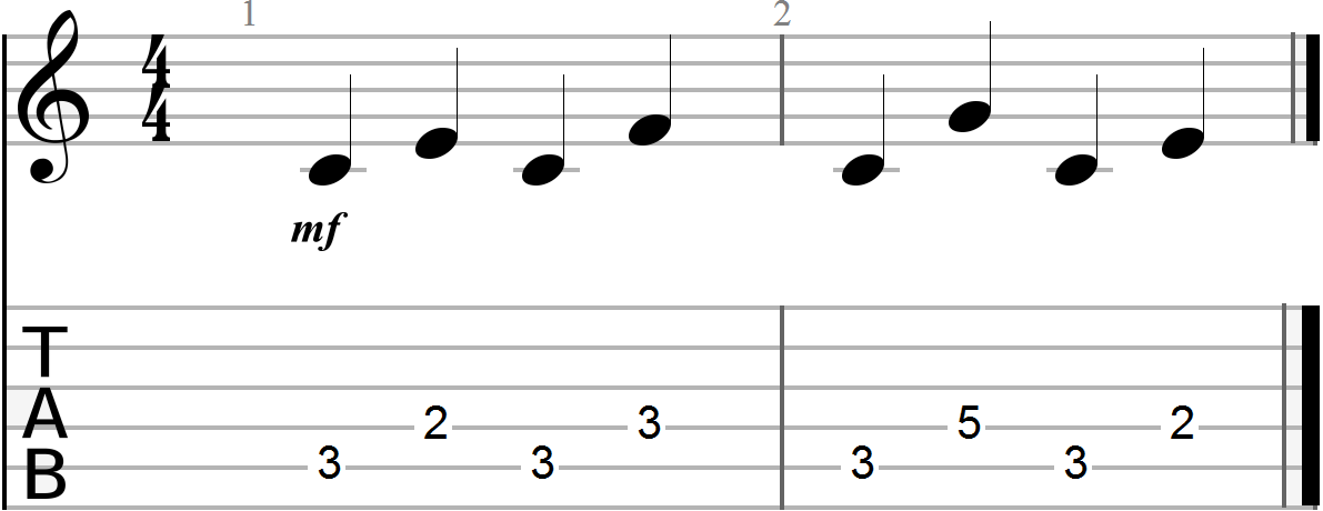 D Major Voice Leading Chord Progression Example