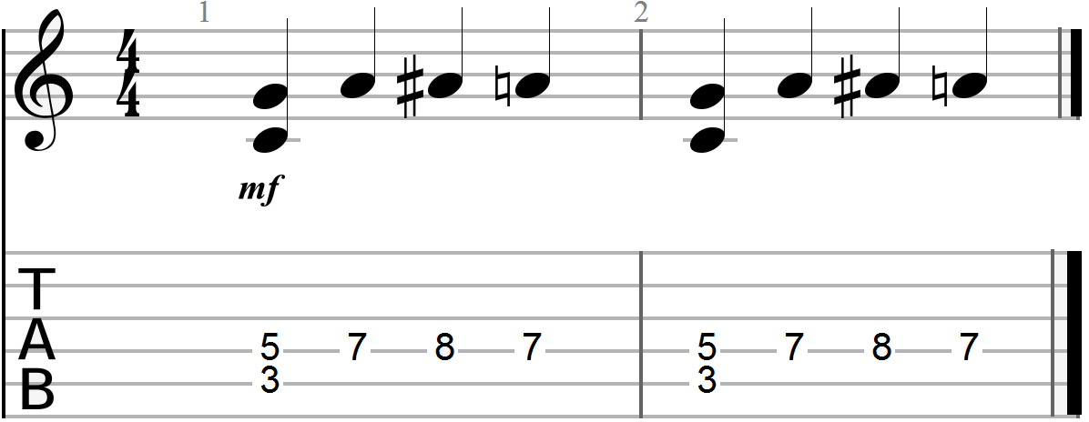 G, C and D 12 Bar Blues Chord Progression (melody line two)