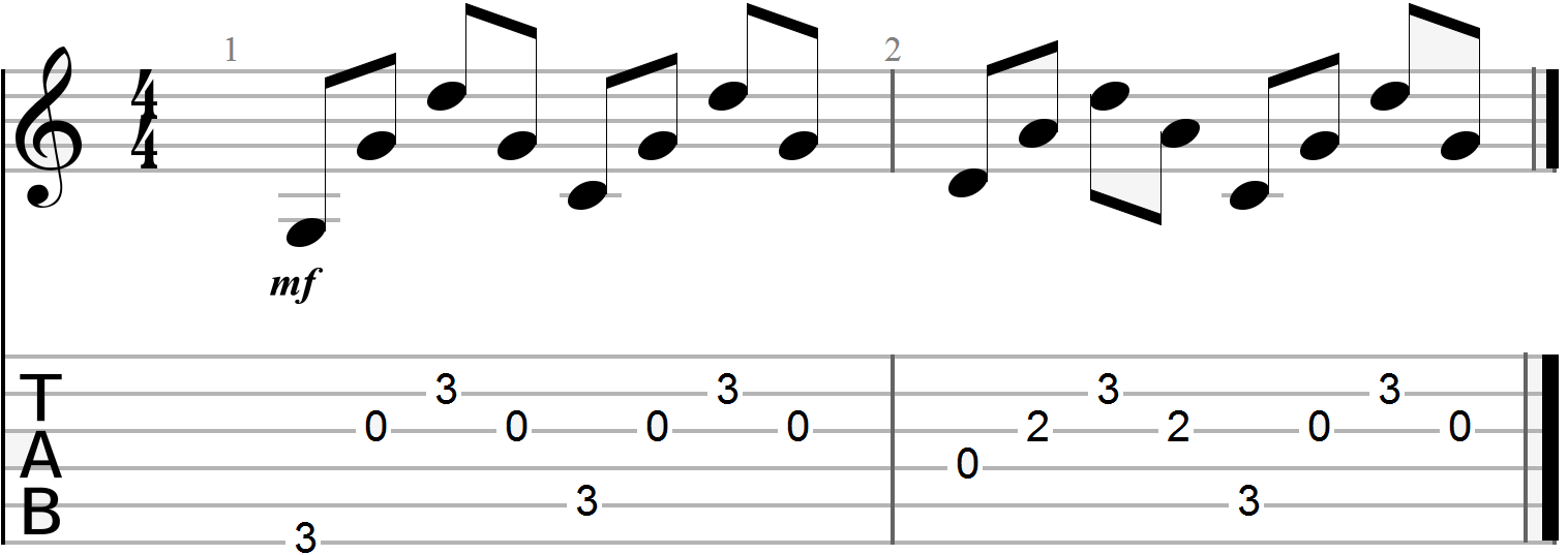 G, C and D Chord Progression (arpeggiated full pattern)
