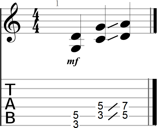 G, C and D Chord Progression (sixth and fifth strings)