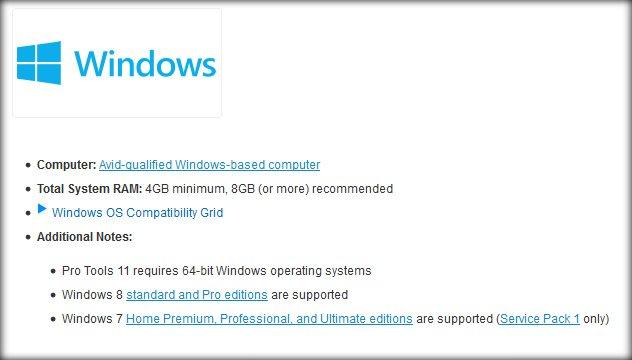 Pro Tools 11 Windows Requirements