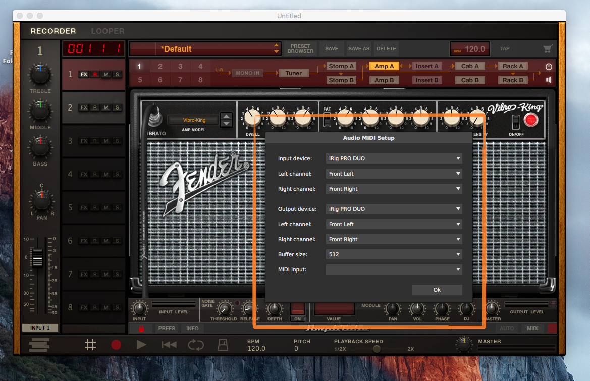 Fender Audio MIDI Setup Menu