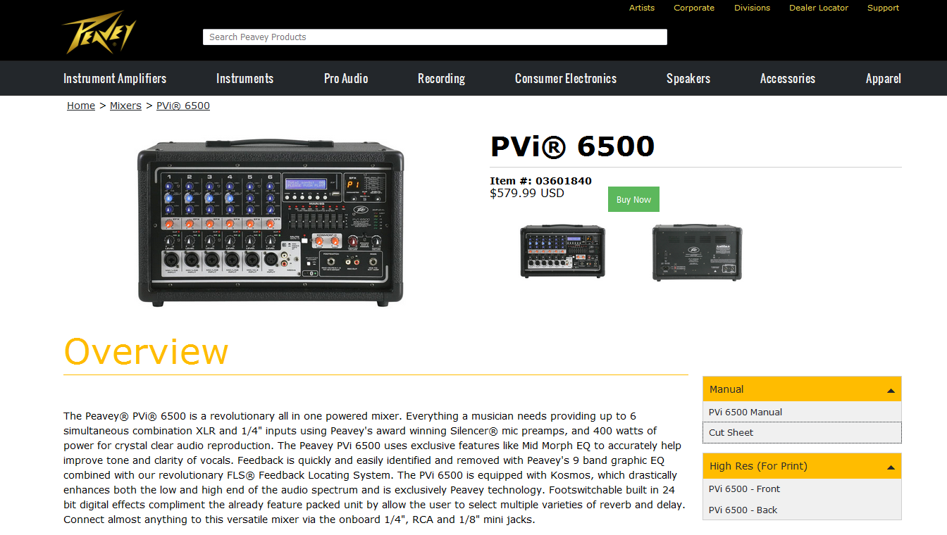Peavey PVi 6500 Powered Mixer