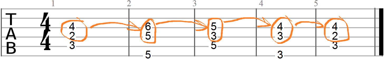 Voicing Leading Between the Third and Sevenths of each Chord