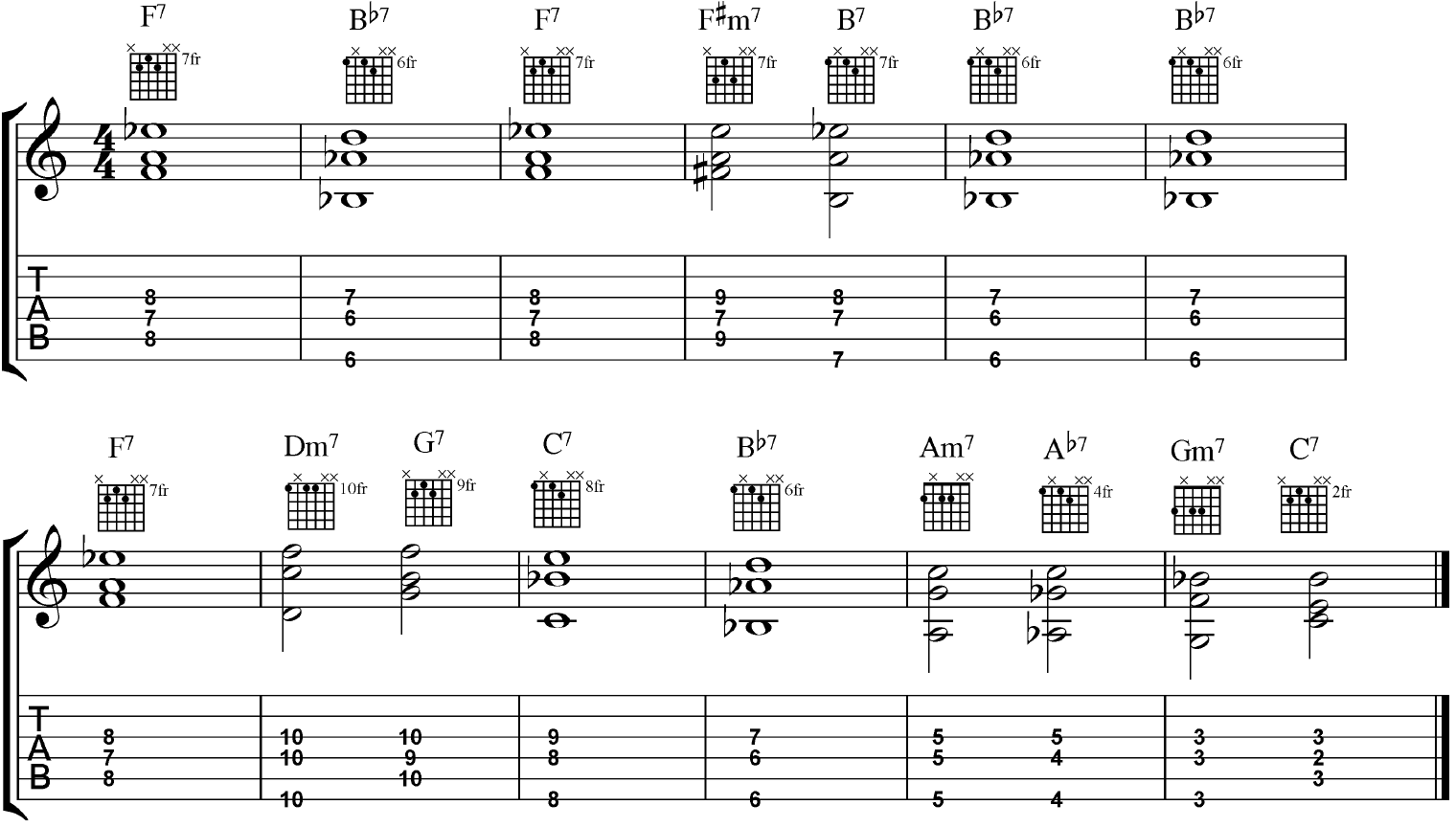 Voicing Leading in a Basic Blues Progression