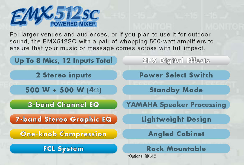 Yamaha EMX512SC Features Checklist