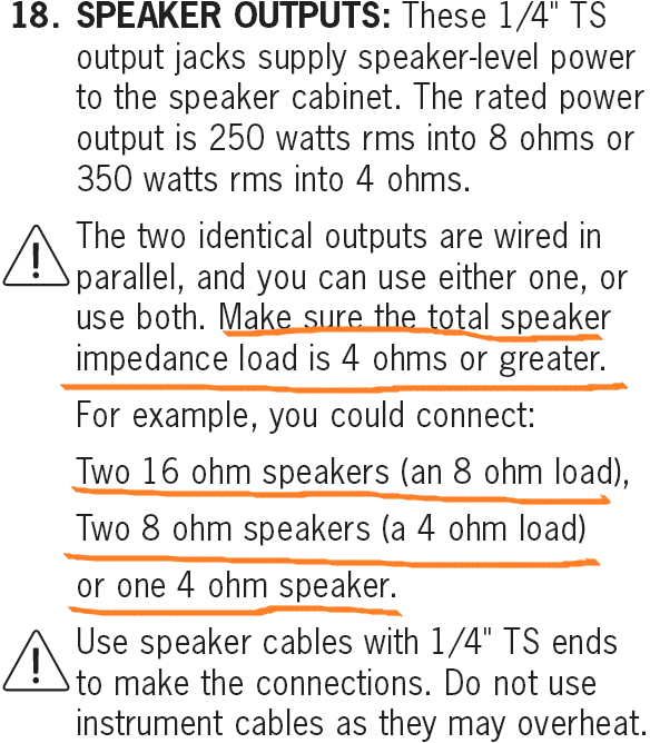 Ampeg Portiflex PF-350 Speaker Output Info