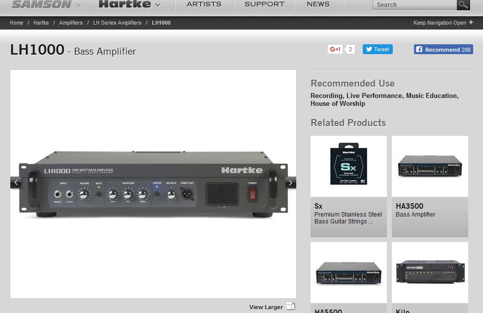 Hartke LH Series Amplifier on the Samson Website