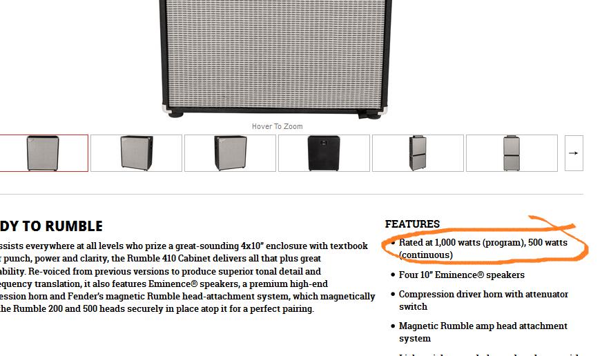 Rumble 410 Speaker Cab Specs