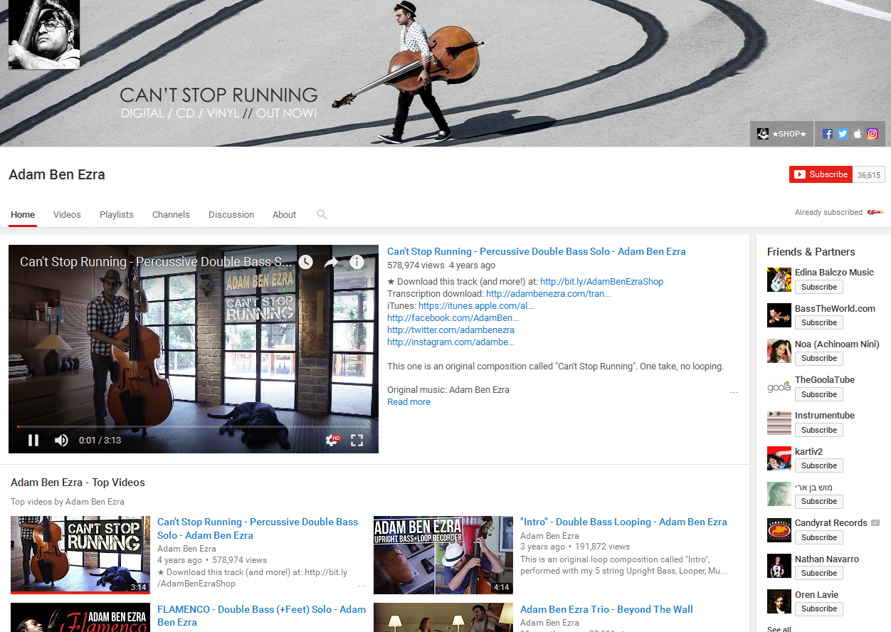 Adam Ezra YouTube Bass Channel Screenshot