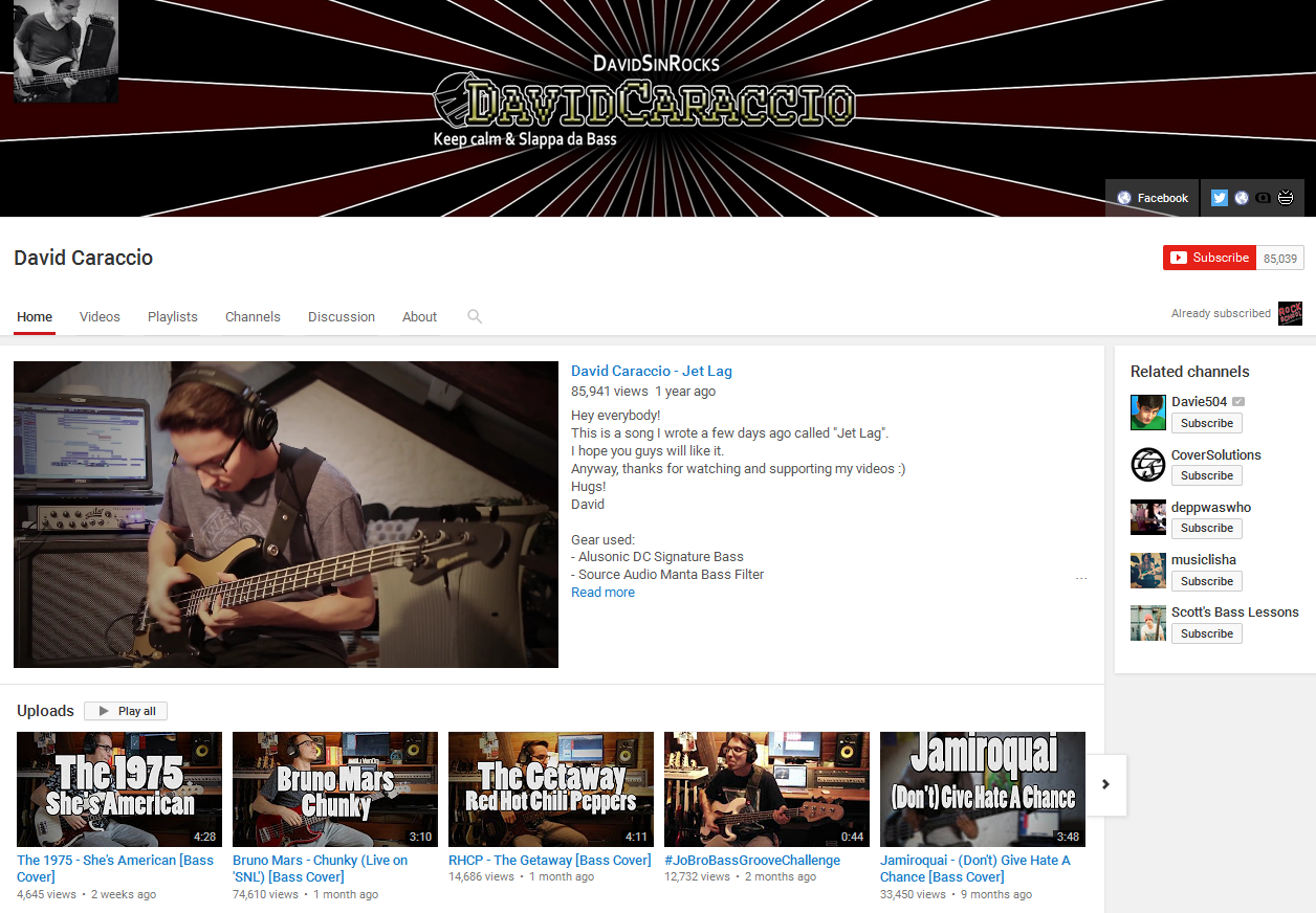 David Caraccio Bass YouTube Channel Screenshot