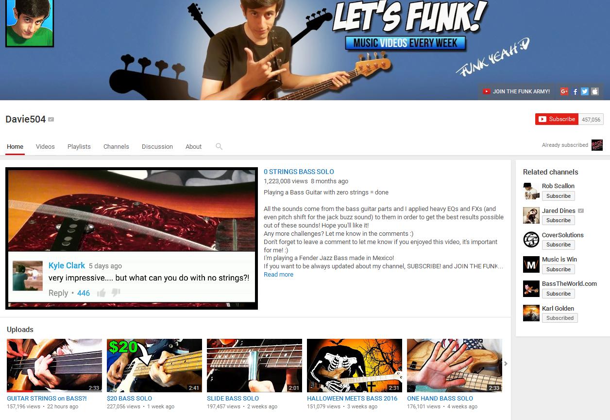 Davie504 Bass YouTube Channel Screenshot