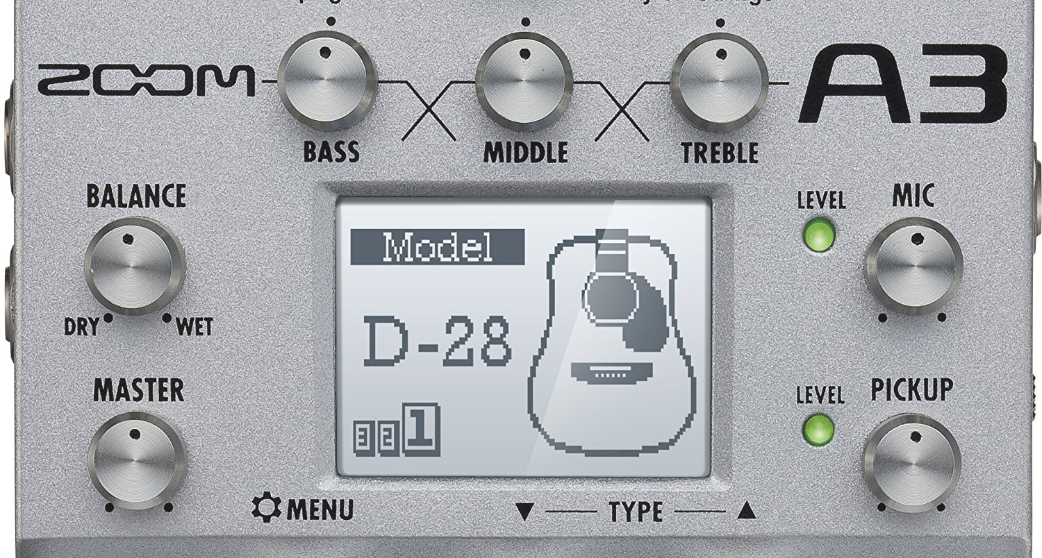 Zoom A3 Acoustic Effects Processor Interface