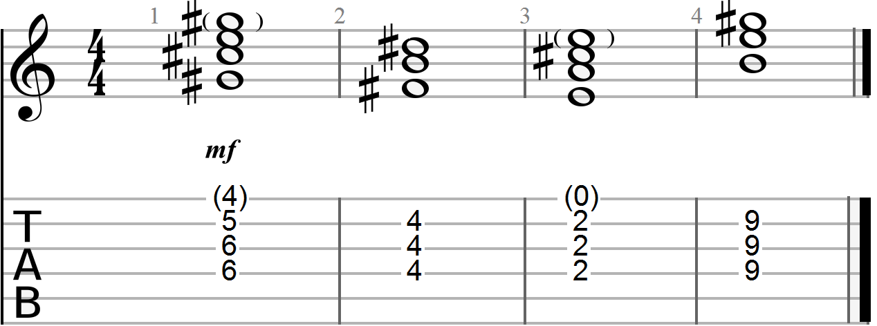 Arpeggiated Chord Progressioin with Root Notes Omitted