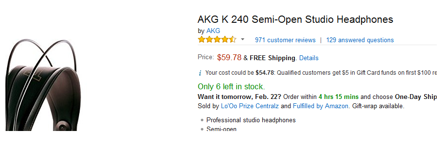 AKG k240 Headphones Amazon Stats