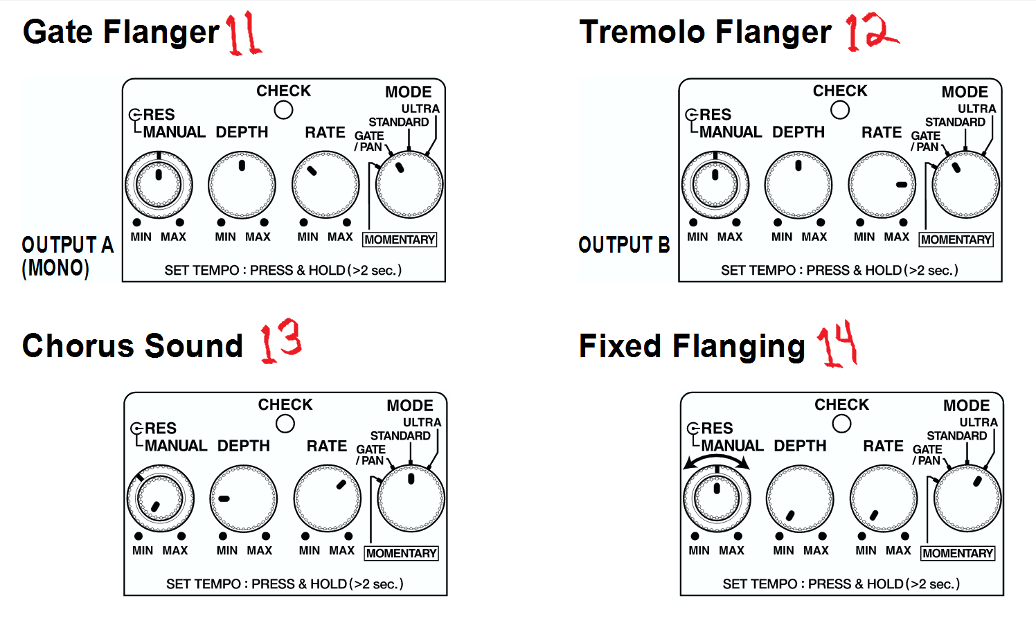 Boss BF-3 Flanger Settings from Manual (second list)