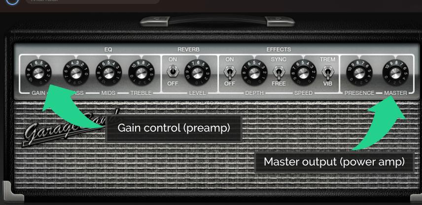Garageband 10 Amp Model Gain and Volume Levels