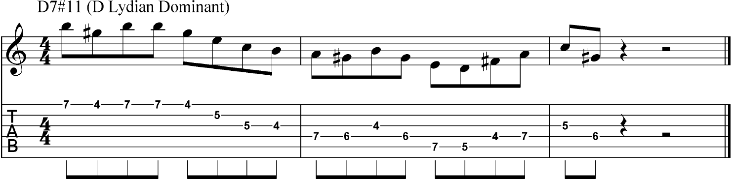 Lydian dominant guitar tab in the key of D