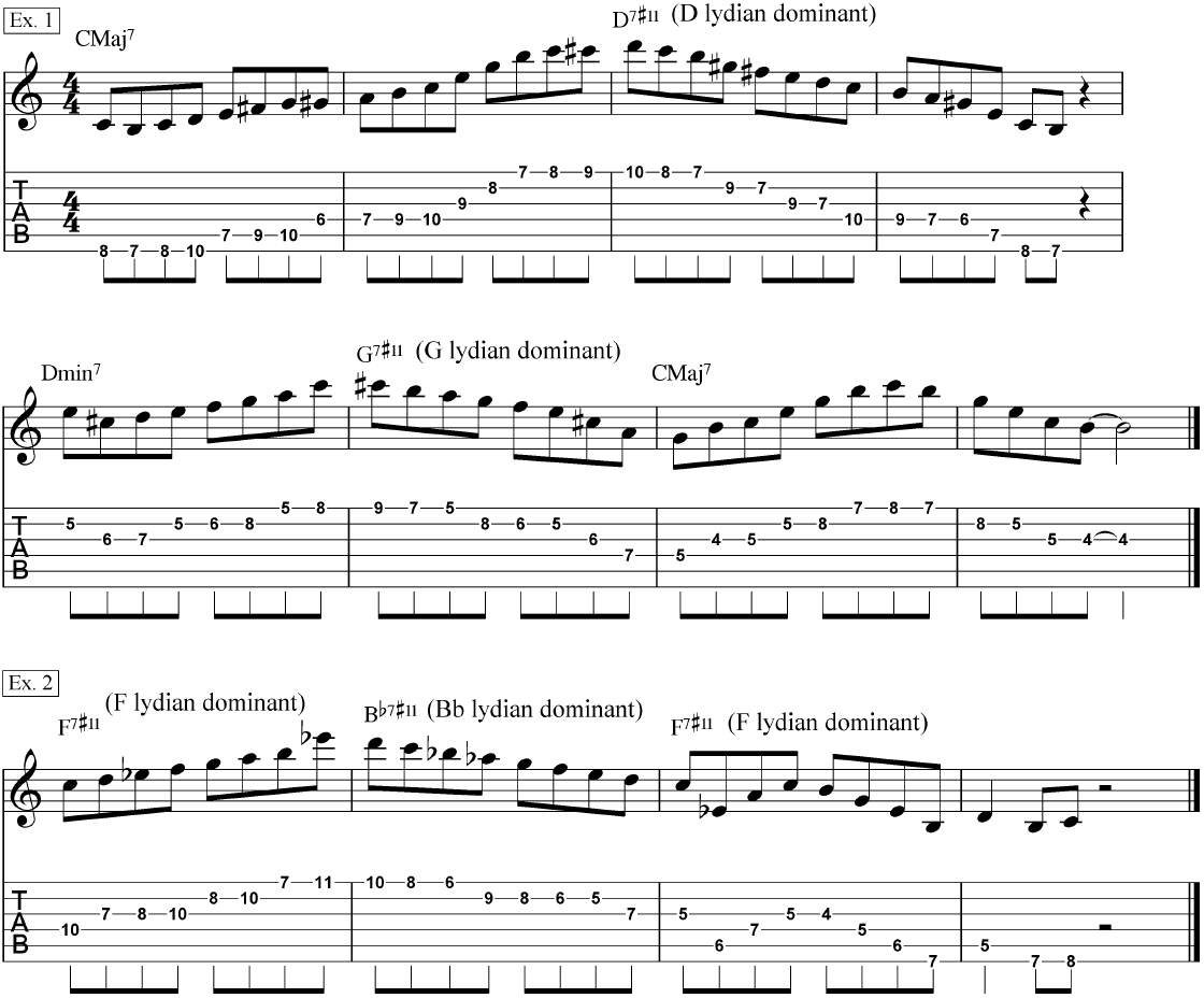 Lydian dominant modes used in common chord progressions