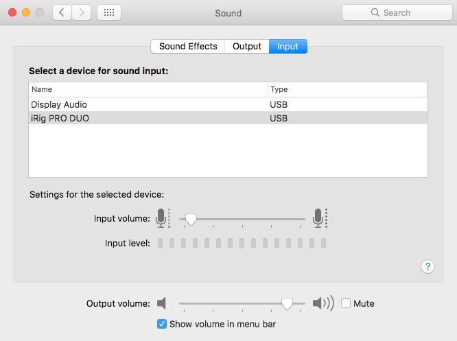 Mac Mini Sound Settings (Input)
