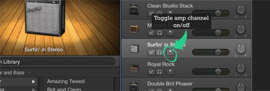 Toggle Amp Channel On or Off in Garageband