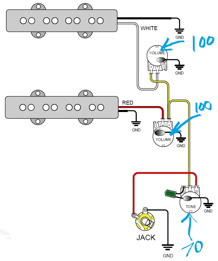 Bass Guitar Wiring Diagram for Two Volume Knows and Settings