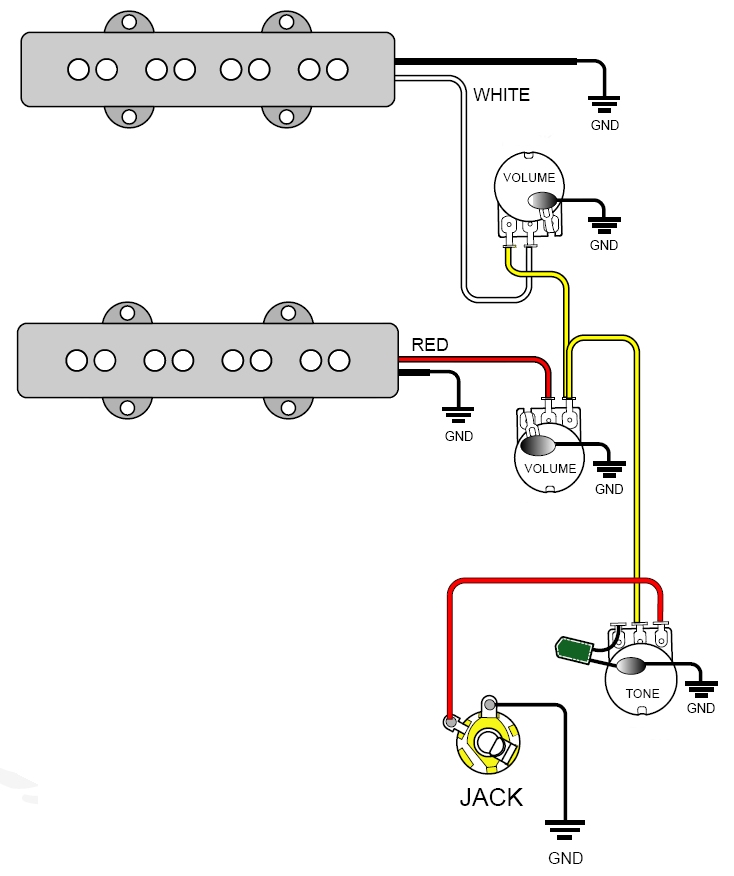 Bass Guitar Wiring Diagram for Two Volume Knows