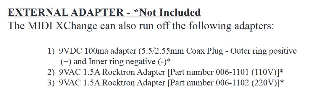 Rocktron MIDI Xchange Adapter
