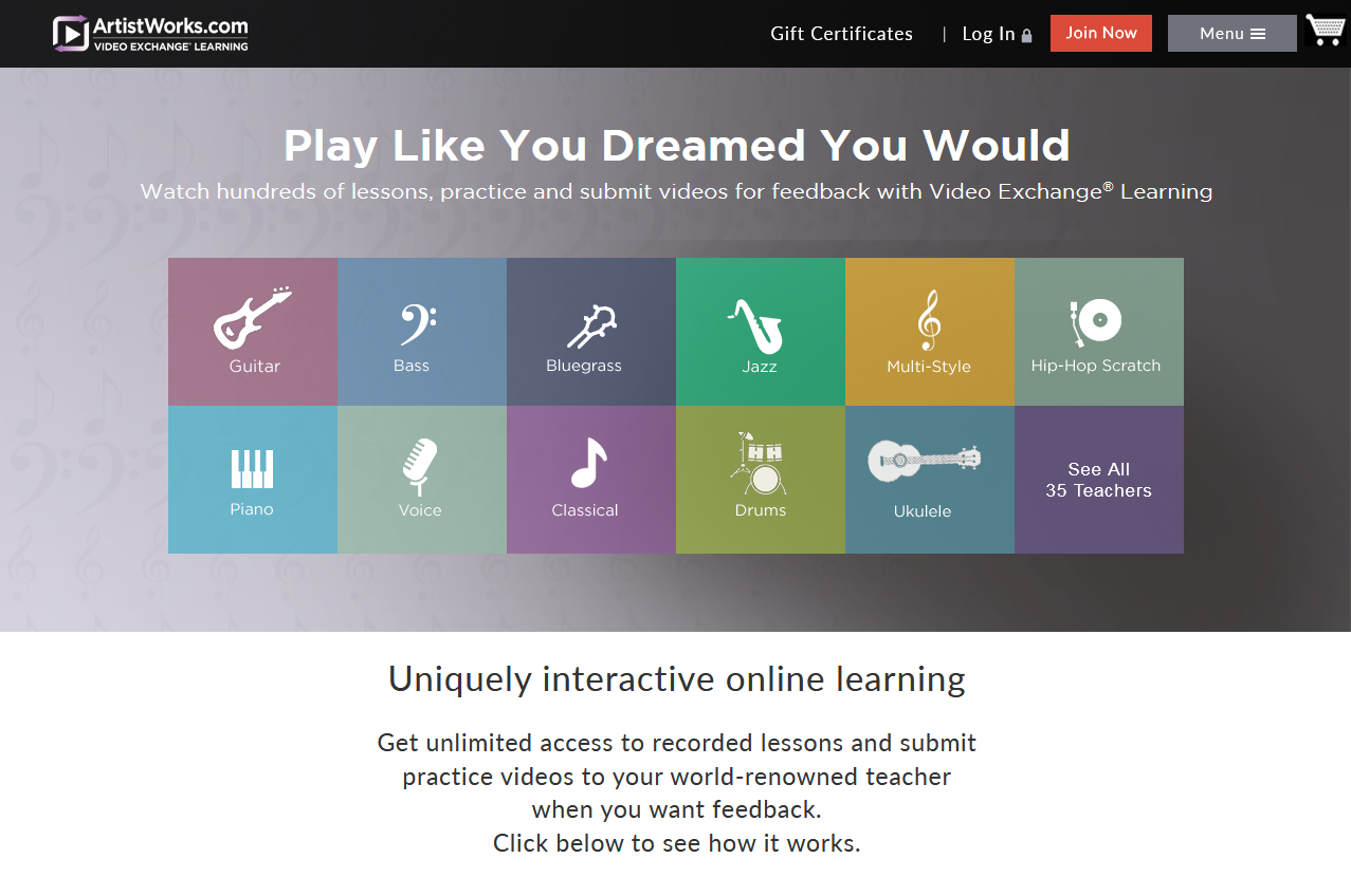 ArtistWorks HomePage ScreenGrab for Online Guitar Lessons Roundup