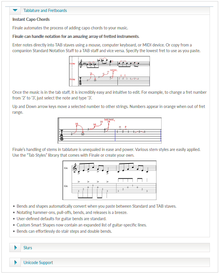 Finale Software Guitar Tab Feature