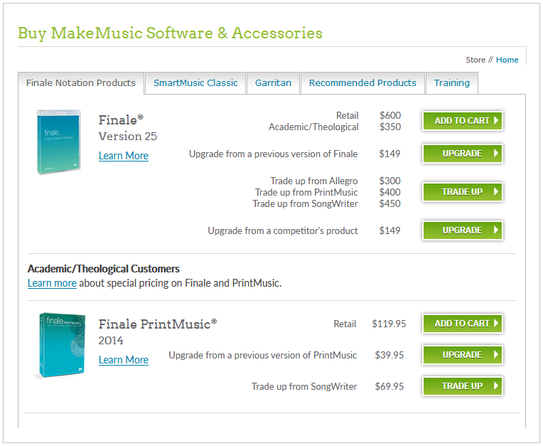 Finale Software Pricing Table
