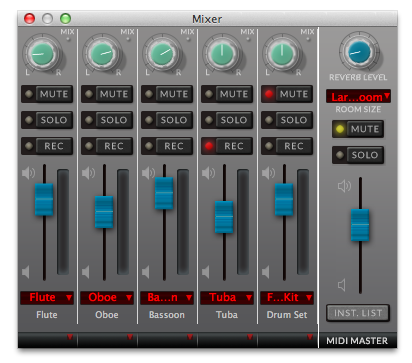 Finale V25 Mixer Interface
