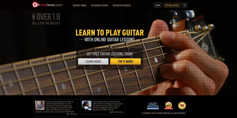Guitar Tricks Homepage Screengrab for Online Guitar Lessons Article
