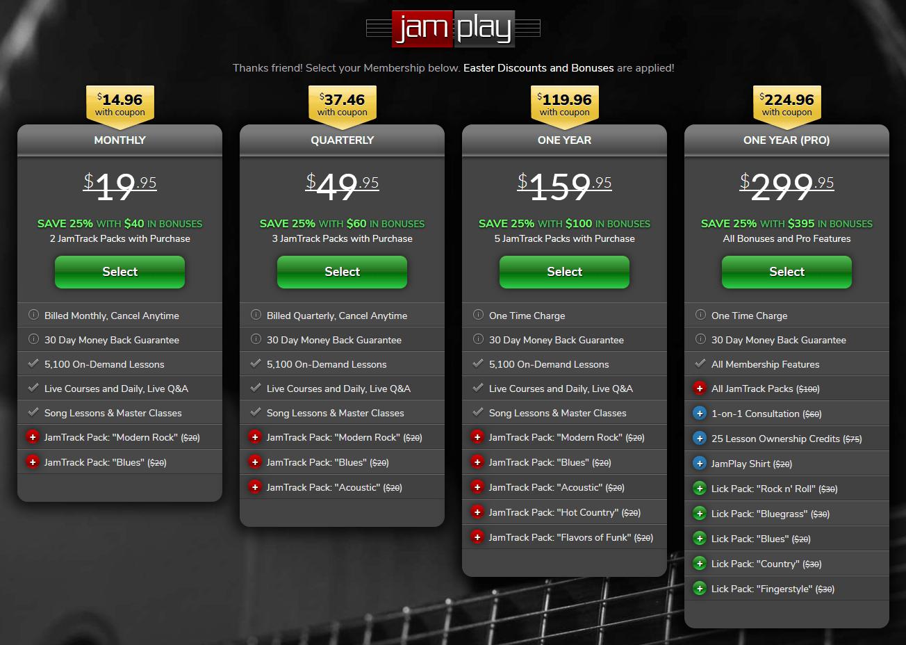 JamPlay Pricing Screengrab