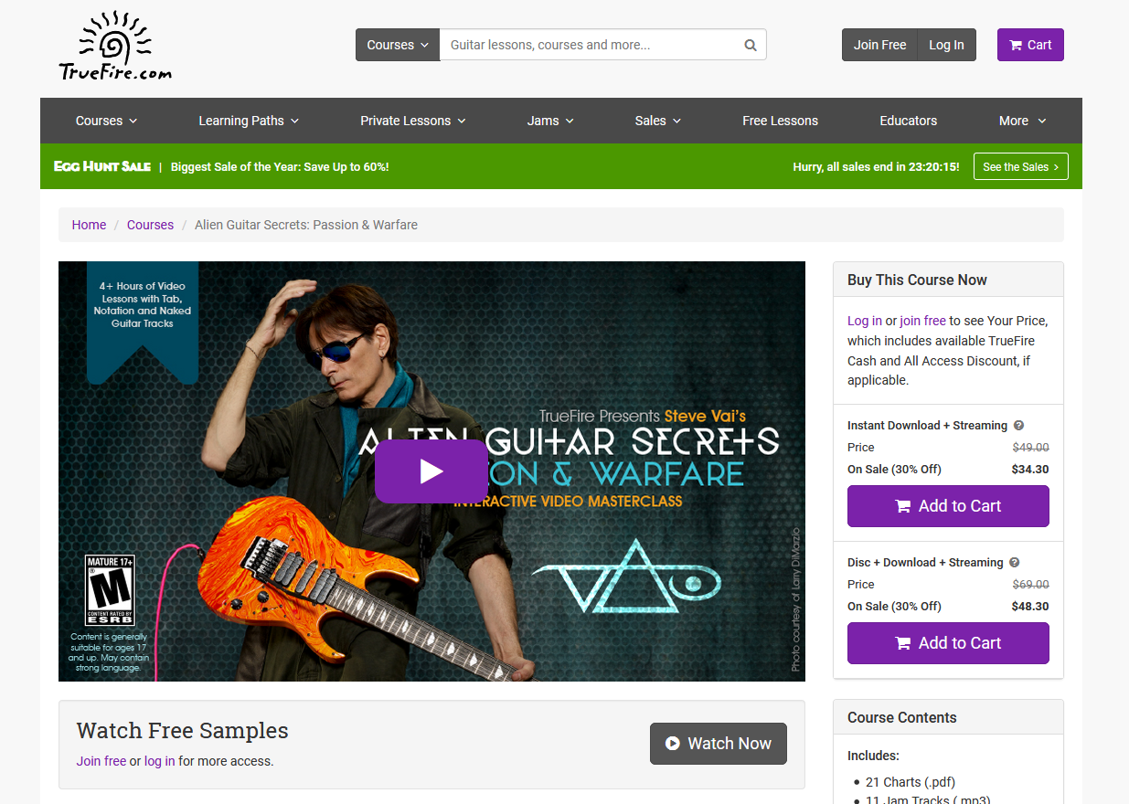 TrueFire Steve Vai Screengrab for Online Guitar Lessons Article