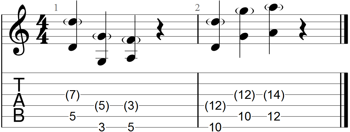 D, G and A Chord Progression Guitar Tab (with dyads)
