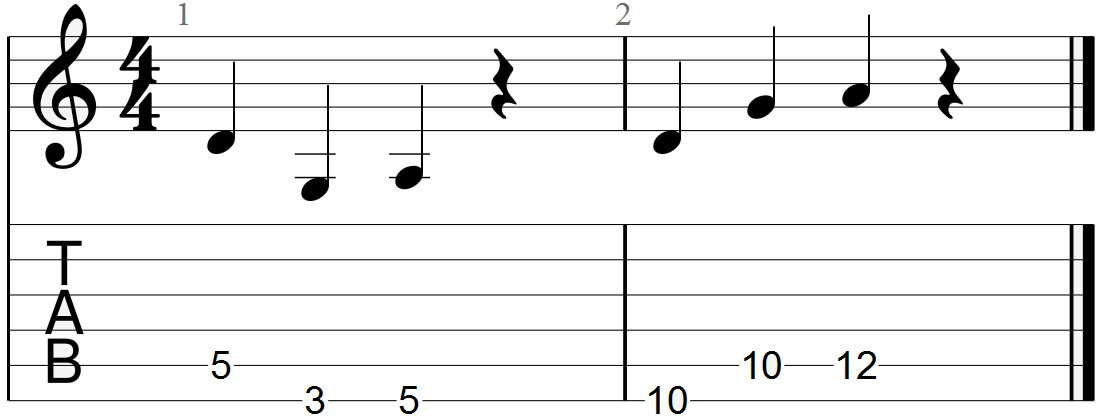 D, G and A Chord Progression Guitar Tab