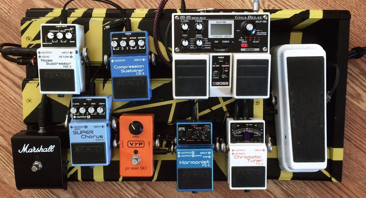 Pedalboard with Boss Pedals and Yellow Stripes