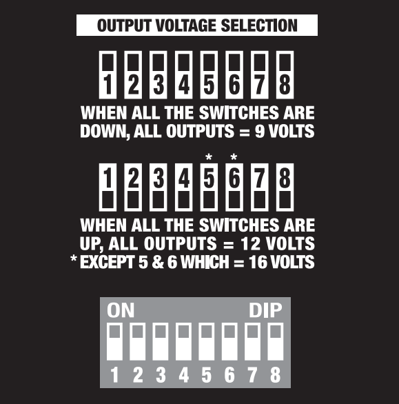 BBE Supa Charger DIP Switch Chart