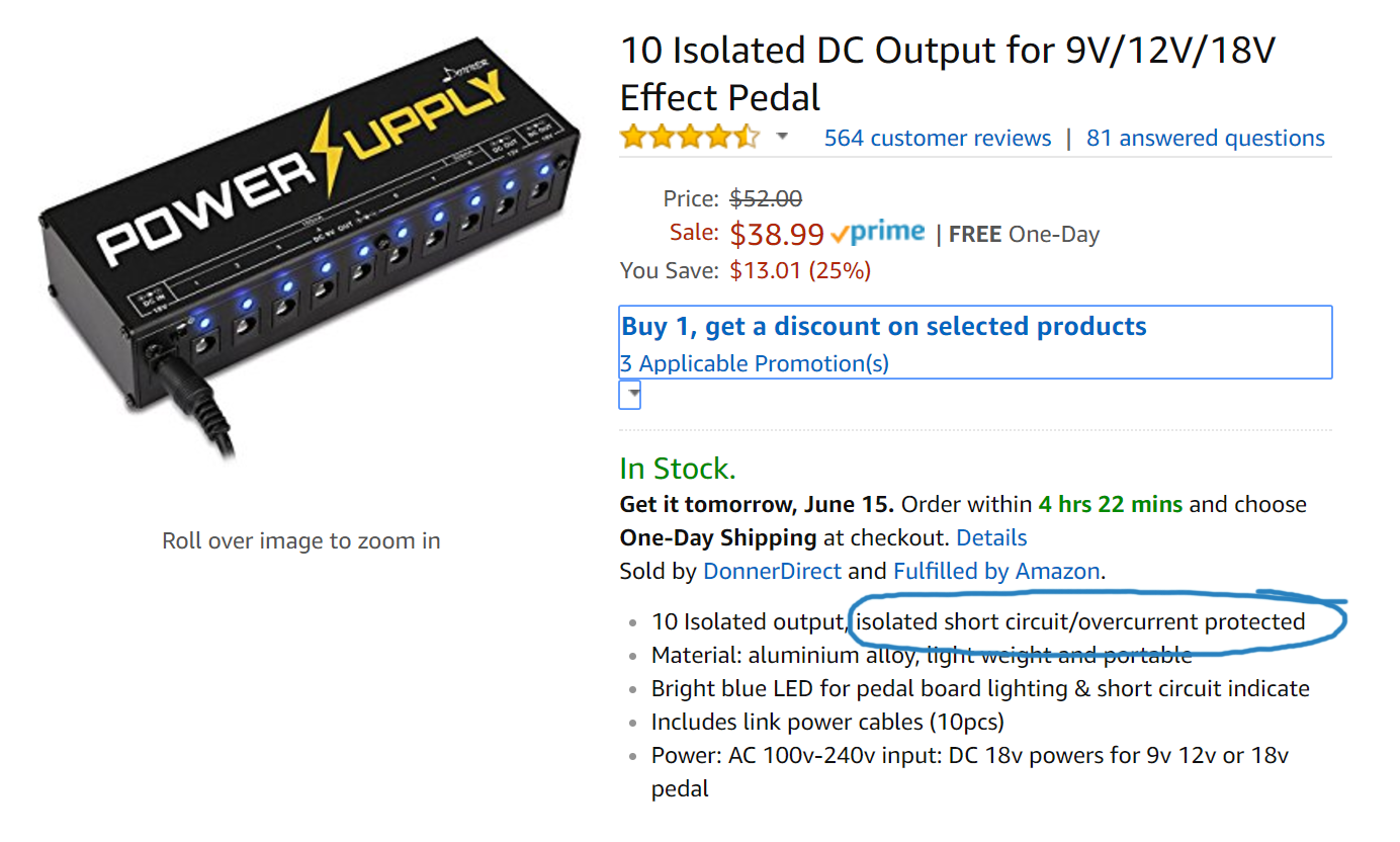 Donner DP-1 Isolated Power Supply Description and Wording