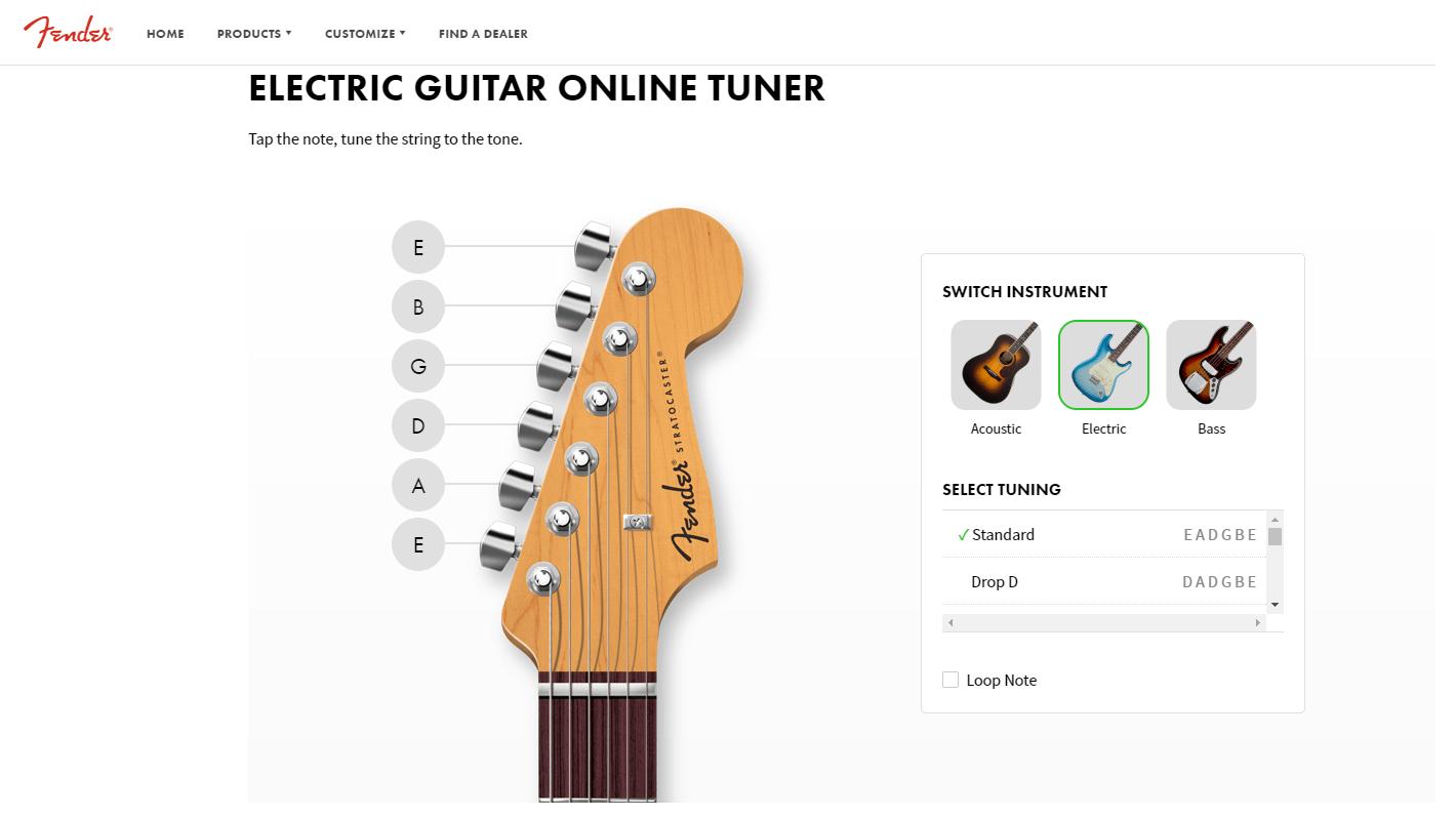 Fender Online Guitar Tuning App