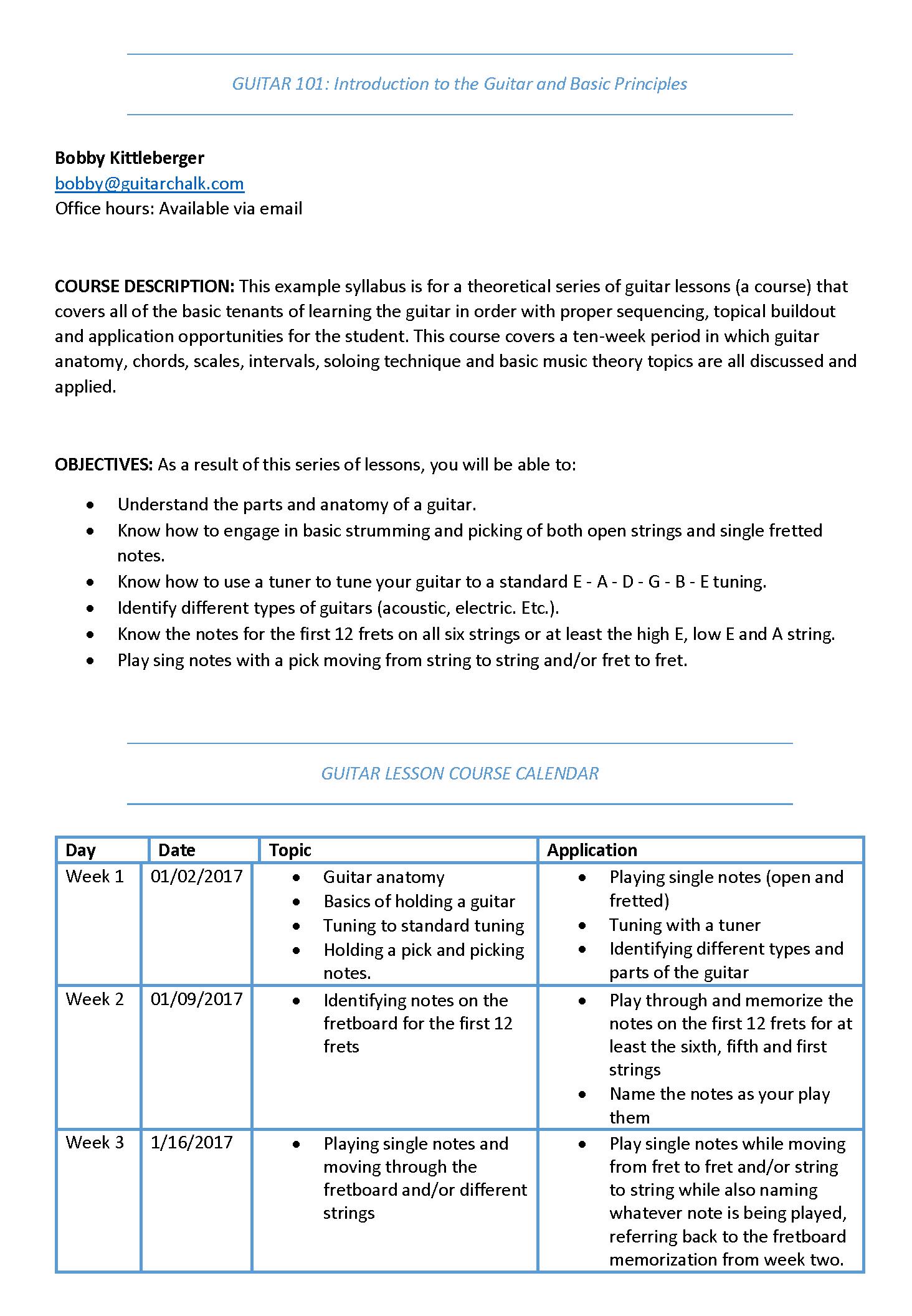 Syllabus Template Word