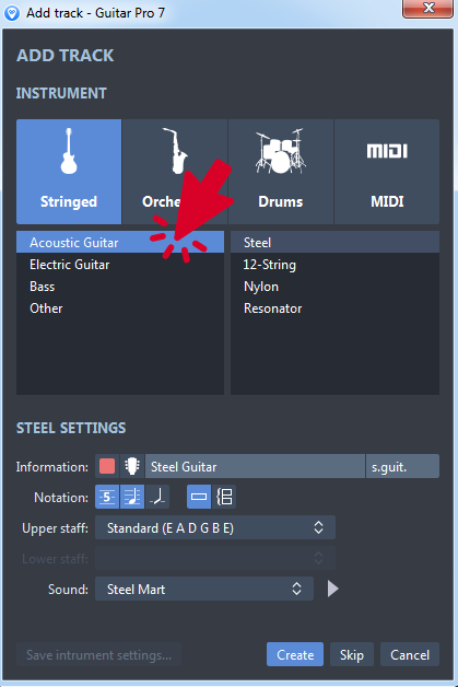 Add Track Dialogue Box in Guitar Pro 7 (2)