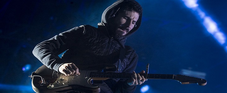 Brad Delson of Linkin Park - Banner Photo for Death of Electric Guitar Article