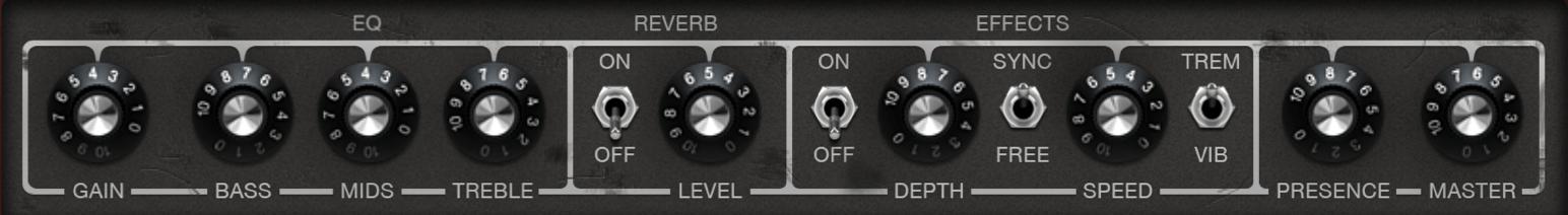 Cascade Amp Model EQ Settings in GarageBand