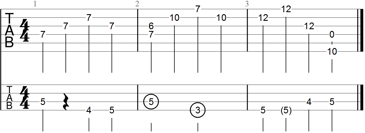 D Major Triad Improv Three Bars with Bass Line