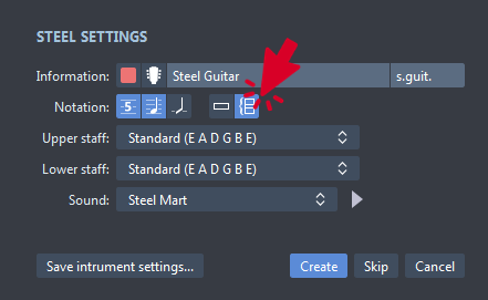 Grand Staff Option in Guitar Pro 7 Setup Screen