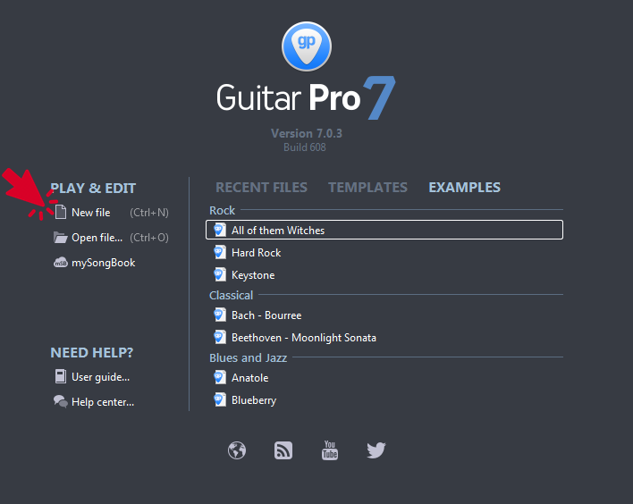 Guitar Pro 7 New File Option