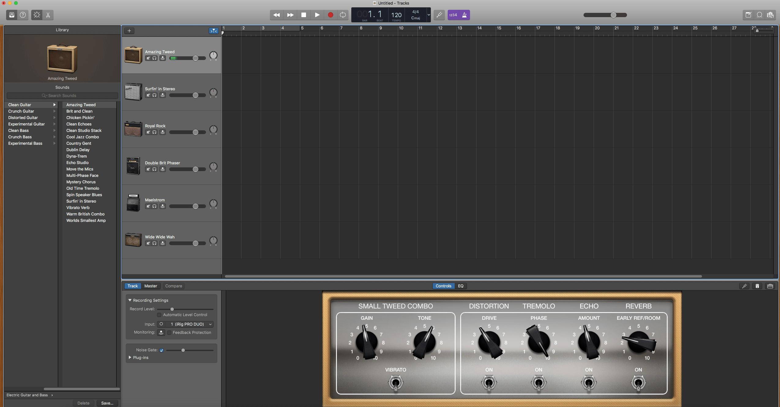 Cascading Delay Guitar Effect in GarageBand